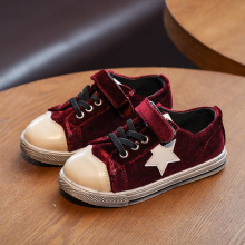 (Wholesale of 5 pairs) 2017 spring new children's casual shoes young fashion girl pleuche low sneaker size 26-36