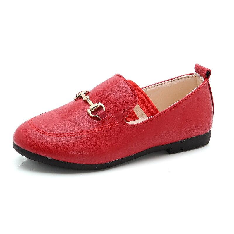 Red Children Flat Single Shoes Casual PU Kids Shoes 2018 Spring Autumn Anti-Slippery Flattie Unisex Boys Girls Shoe Baby Sneaker