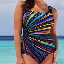 One Piece Women Colorful Swimming Costume Bikini Set Padded Swimsuit Monokini Swimwear Push Up Plus Size XXXL M5(China)