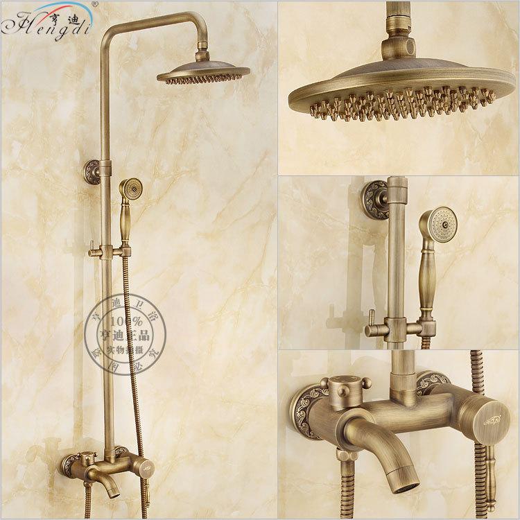 """Ванная комната ретро античная медь латунь Ванна Душ Набор Настенный 8 """"смеситель для душа в форме дождя кран 3-функции смеситель клапан"""