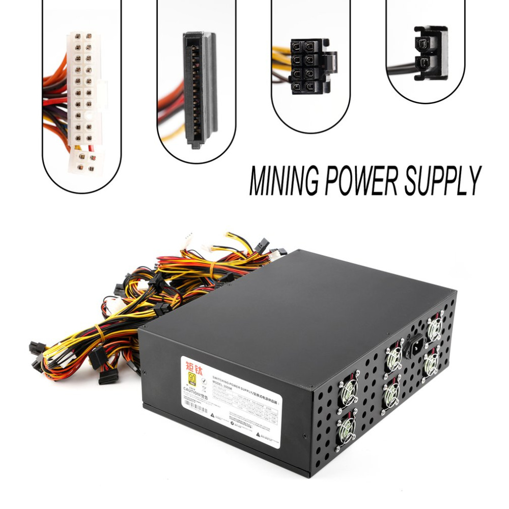 3000W Power Supply For 12 GPU Eth Rig Ethereum Coin Mining Miner 90 PLUS GOLD High Efficiency Stable Performance Ultra Quiet coin 5 90