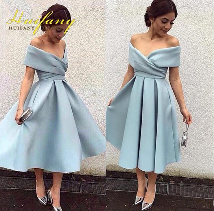 Elegant Satin Off The Shoulder Tea Length Women Formal Dresses Light Blue Simple Short -5418