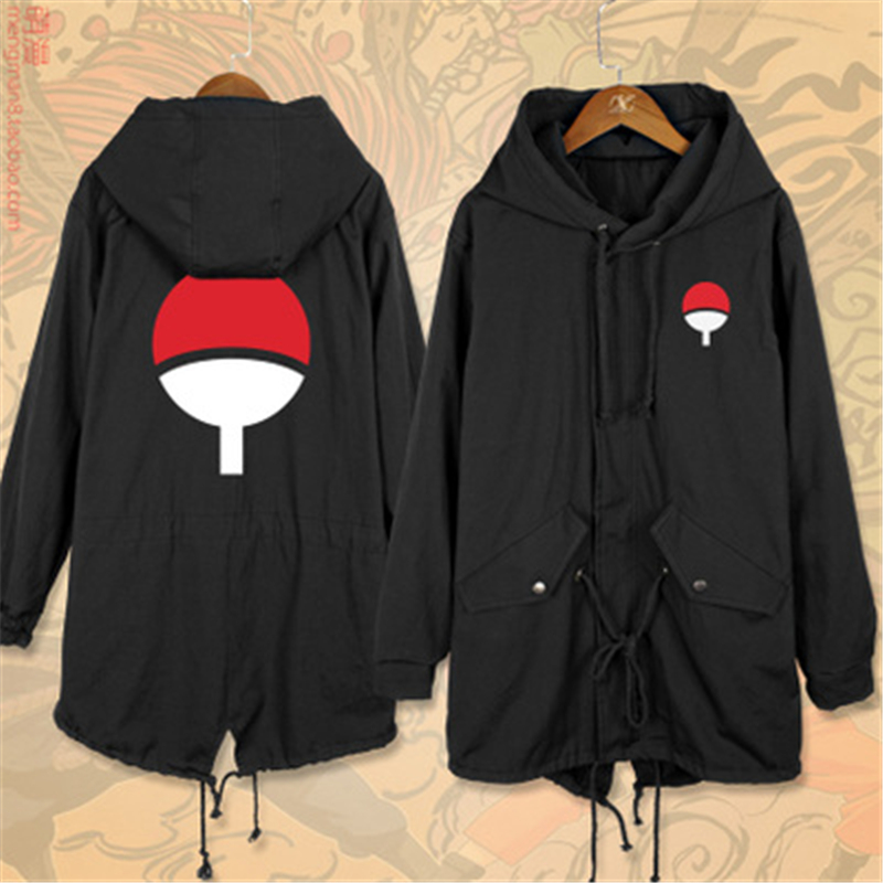 Anime Cartoon NARUTO Sasuke Uchiha Itachi Sharingan Cosplay Costumes Cotton Men Women Trench Jackets Warm Hoodies Coat New Top