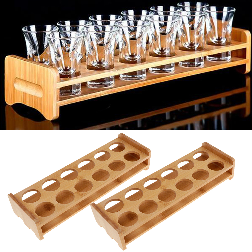 Us 18 52 44 Off Set Of 2 Bamboo Shot Glass Holder Rack Bar Wine Drinks Serving Tray Brown 7 12 Holes By Random In Racks Holders From Home Garden