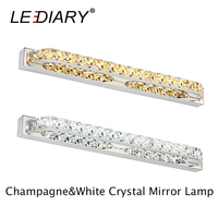 LEDIARY Crystal LED Mirror Light 100 240V 40/56/68/87/100cm Champagne/White Stainless Steel Bedroom Wall Lamp Waterproof Driver