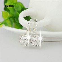 Silver Color Circular Drop Earrings female Models Shamballa Fashion Jewelry Lovely Wild Super Flash Retro Crystal