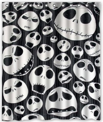 Custom Unique Design The Nightmare Before Christmas Skull Waterproof Fabric Shower Curtain 72 By 60