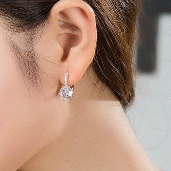 Jiayiqi New Vintage Earrings Rose Gold Crystal CZ Bling Drop Earrings For Women Girls Christmas Gfit Fashion Wedding Jewelry 5