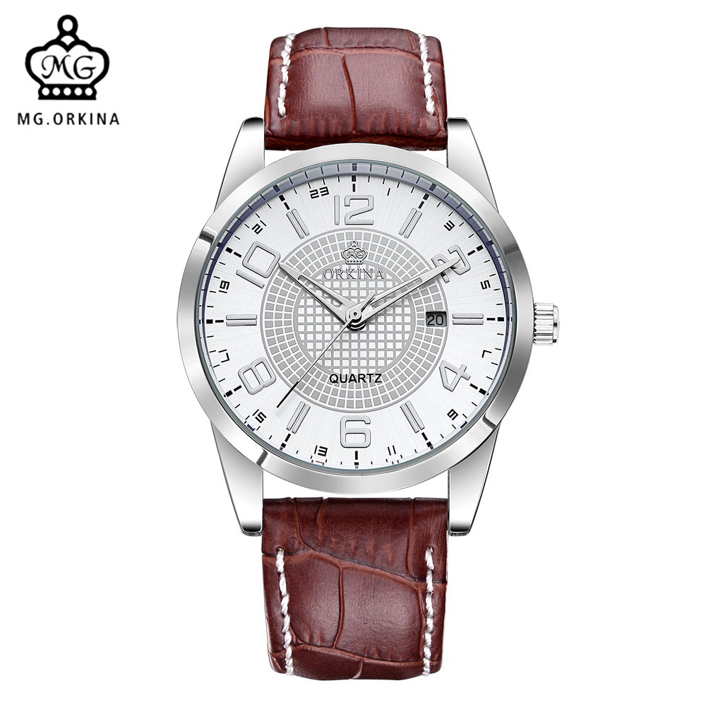 MG. ORKINA Men's Quartz Watch Fashion Leather Strap Embossed Dial Miyota Movement Auto Date Reloj Hombre Male Business Watch mg orkina fashion casual mens watches red dial luminous hands japan movt auto date waterproof male quartz wristwatche