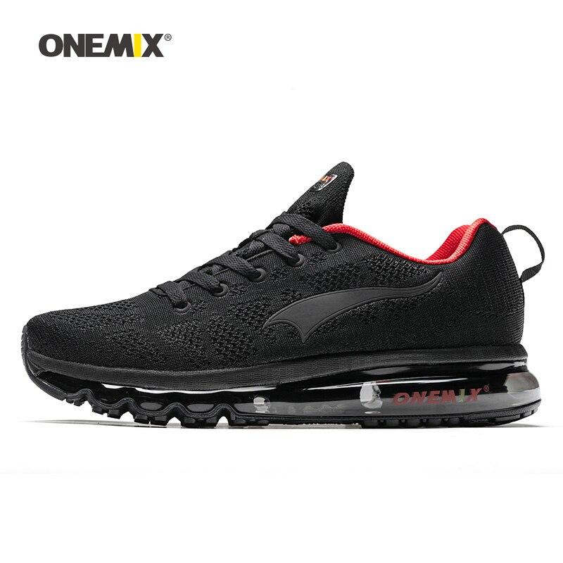 ONEMIX homme chaussures de course pour hommes Nice Zapatillas baskets athlétiques noir rouge sport coussin d'air plein Air Jogging marche baskets