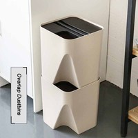 1 Pcs High Quality Japanese Overlap-able Trash Cans Creative Household Plastic Trash Storage Bins Kitchen Multi-layer Dustbins