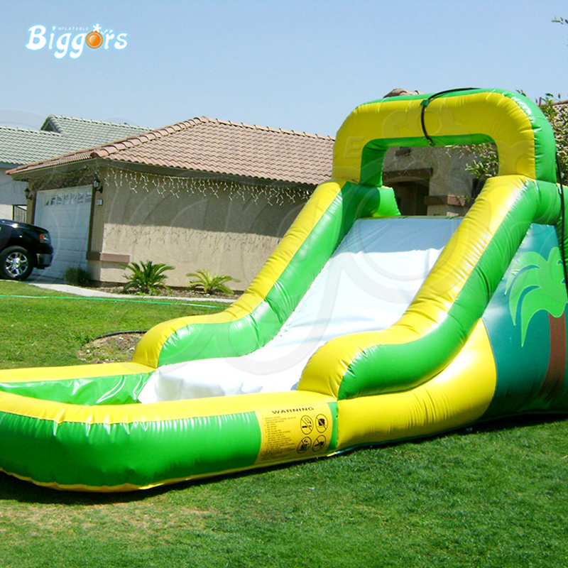 Green With Yellow Inflatable Water Slide With Pool With PVC Cloth For Water Game Use