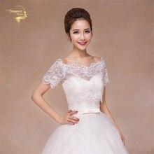 Elegant Ivory / Red Bridal Lace Bolero Sparkling Cape Fashion Bridal Jacket Summer Shrug Women Shawls Wedding Accessorie OJ33250