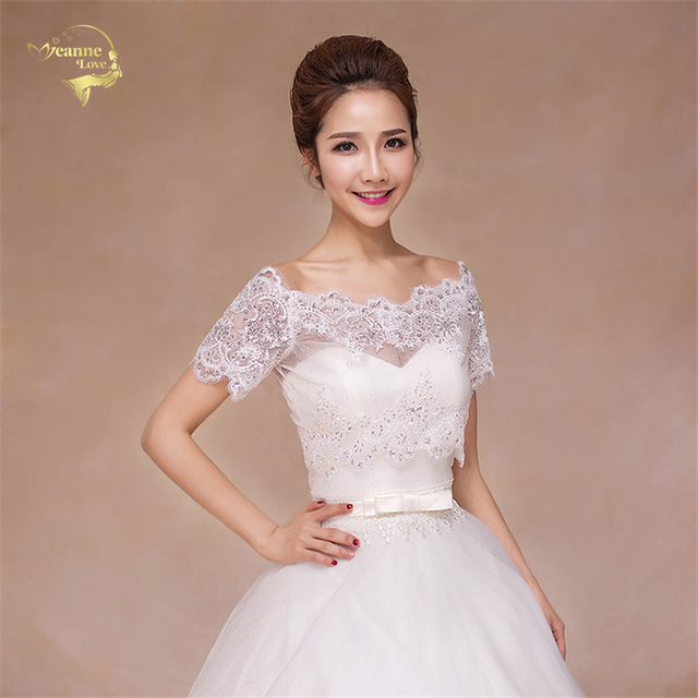 Elegant Ivory / Red Bridal Lace Bolero Sparkling Cape Fashion Bridal ...