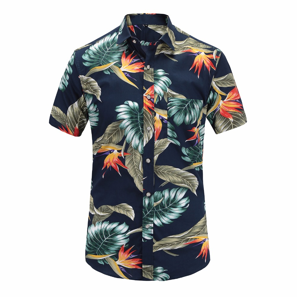 2019 New Summer Mens Short Sleeve Beach Hawaiian Shirts Cotton Casual Floral Shirts Regular Plus Size 3XL Mens Clothing Fashion(China)