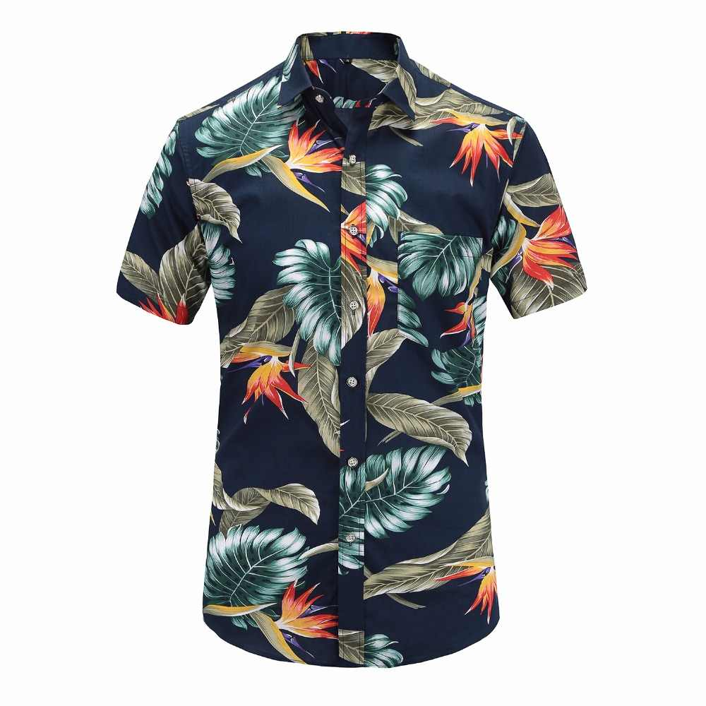2018 New Summer Mens Short Sleeve Beach Hawaiian Shirts Cotton Casual  Floral Shirts Regular Plus Size 0635fe353737