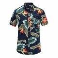 Новинка 2020  летние мужские пляжные Гавайские рубашки с коротким рукавом  хлопковые повседневные рубашки с цветочным принтом  обычные мужск...