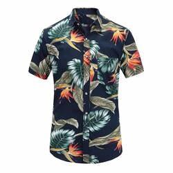 2019 новые летние мужские с коротким рукавом пляжный Гавайские рубашки хлопок Повседневное цветочный стандартные для рубашек плюс Размеры