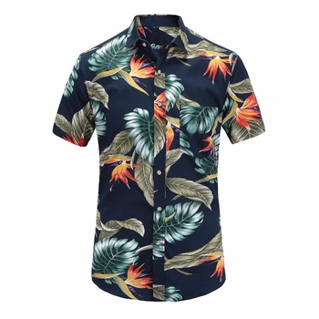 2019 New Summer Mens Short Sleeve Beach Hawaiian Shirts Cotton Casual Floral Shirts Regular Plus Size 3XL Mens clothing Fashion Casual Shirts