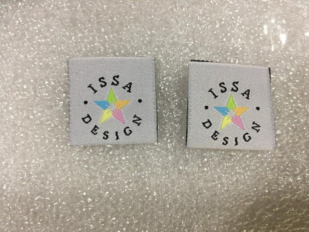 Etiquetas de ropa personalizadas para el Centro etiquetas tejidas para ropa diseño colorido pentagrama ISSA Etiqueta de ropa personalizada de alta calidad-in Etiquetas de ropa from Hogar y Mascotas    2