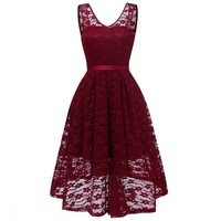 Summer Lace Dress Women Backless Vestidos Casuales Mujer 2018 New Asymmetrical Swing Pleated Dress Femme Party