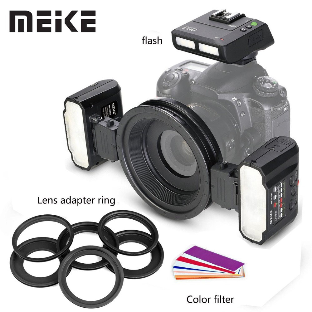 Meike MK-MT24 მაკრო Twin Lite Flash Speedlite Canon Nikon Sony A9 A7III A7RIII და MI Hot Shoe Mount Mirrorless კამერისთვის