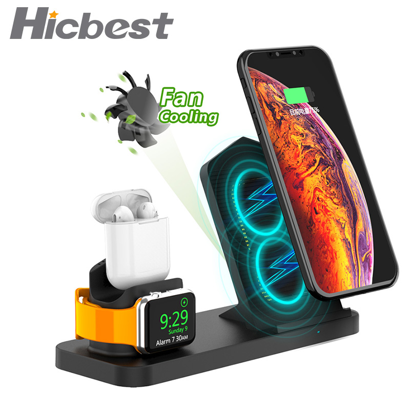 Fast 3 in 1 Wireless Charger for iPhone 3in1 Wireless Charging Dock Station Qi 10W for iPhone X XS Max XR 8 AirPods Apple Watch-in Mobile Phone Chargers from Cellphones & Telecommunications