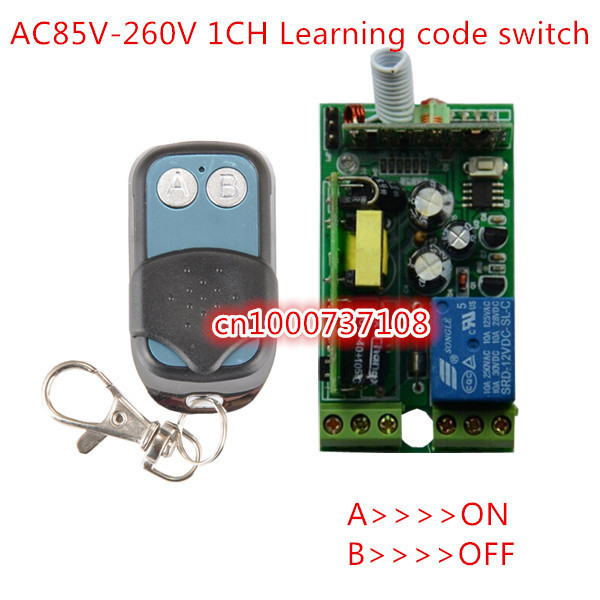 RF AC85V 110V 220V 230V remote control light switch ON/OFF 1 Channal relay switch with learning code 315mhz/433mhz remote control switch led light lamp remote on off system ac85v ac260v 100v 110v 240v 230v 127v learning code receiver 315 433