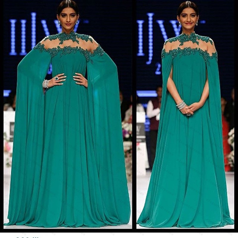 High Neck Beaded Top Long Chiffon Teal Evening Gown Arabic Kaftan ...