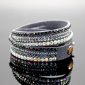 1PC Crystal Bracelets &Bangles Multilayer Rhinestone Slake Leather Bracelet Crystal Long Braclet For Women Jewelry