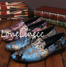 2017 Originals Mens Fashion Gold Bronzing Vintage Luxury Floral Printing Chaussures Bateaux Italian Male Blue Loafers Breathable