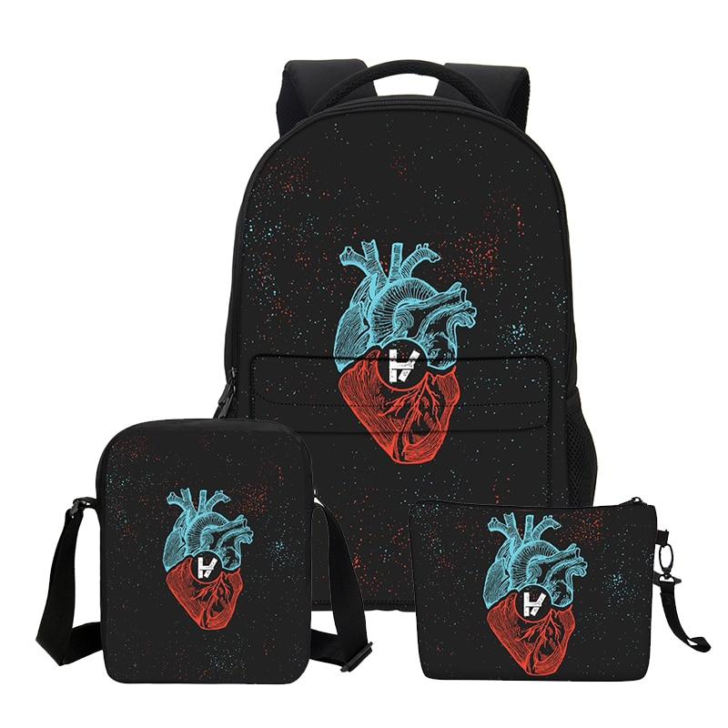 VEEVANV Boys School Backpacks Fashion 3 PCS/SET Twenty One Pilots Printing Shoulder Bags for Teenage Girls Cool Cortoon Bookbags veevanv new fashion women s backpacks audrey hepburn printing backpacks for teenage boy girls casual bags for fans best gifts