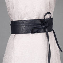 Sexy Ladies Waist Belts High Wiasted Womens Soft PU Leather Self Tie Bow Wrap Around Waist Band Cinch Boho Obi Belt M(China)