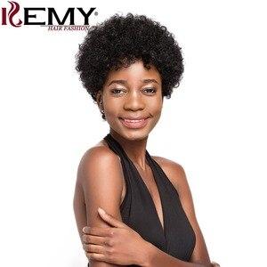 Image 2 - Afro perwersyjne kręcone peruki KEMY włosy krótkie włosów ludzkich peruk dla czarnych kobiet naturalne czarny kolor czerwony brazylijski Non  remy włosy peruki