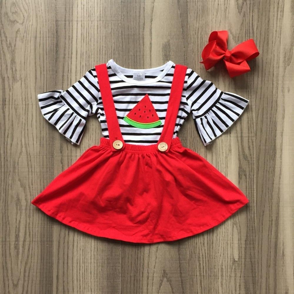 6110ee73bf44 SUMMER baby girls clothes kids wear red black stripe watermelon cotton  skirt dress boutique short sleeve