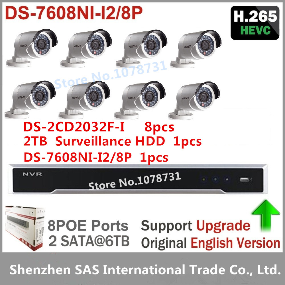 Hikvision DS-7608NI-I2/8P 2SATA, 8 POE ports 8ch NVR + 2TB HDD + 8pcs Hikvision DS-2CD2032F-I 3MP Surveillance Camera IP Camera