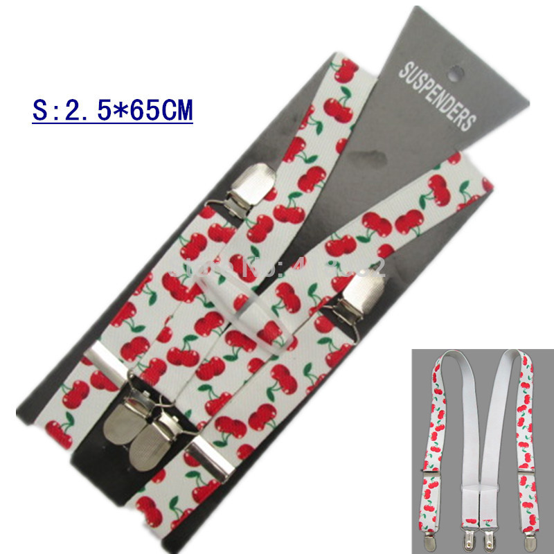 BD062--New Arrival Cherry Print Suspenders For Baby 2.5*65cm 4 Clips-on Children Accessories Free Ship