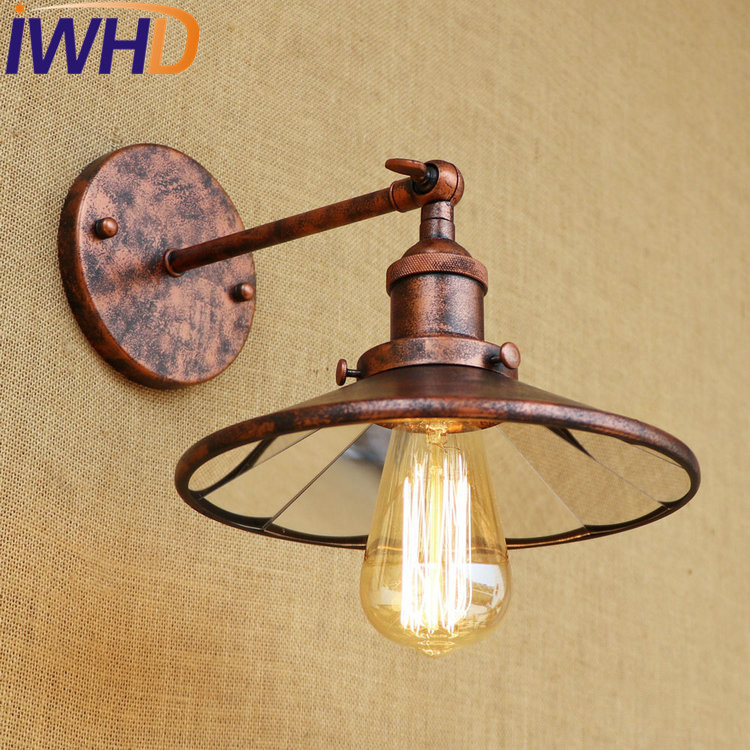 IWHD Loft Edison Wall Sconce Industrial Wall Lamp Iron Mirror Glass Vintage Wall Light Fixtures Indoor Lighting Lampe Murale