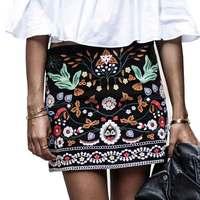 Wyszywana Spódnica Rocznika Ołówek Krótkie Spódnice Kobiet Wysoka Talia Czarny Boho Mini Casual Kwiatowy Haft Spódnica Kobiet