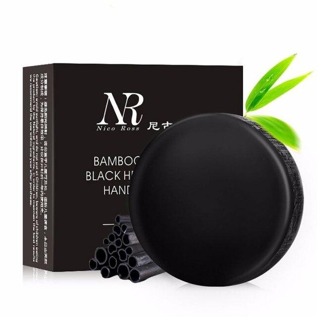 Cuidado de la piel cuerpo baño eliminar el aceite negro de carbón de bambú jabón Facial profunda limpia jabón hecho a mano de blanqueamiento, Maquiagem hecho a mano nueva herramienta