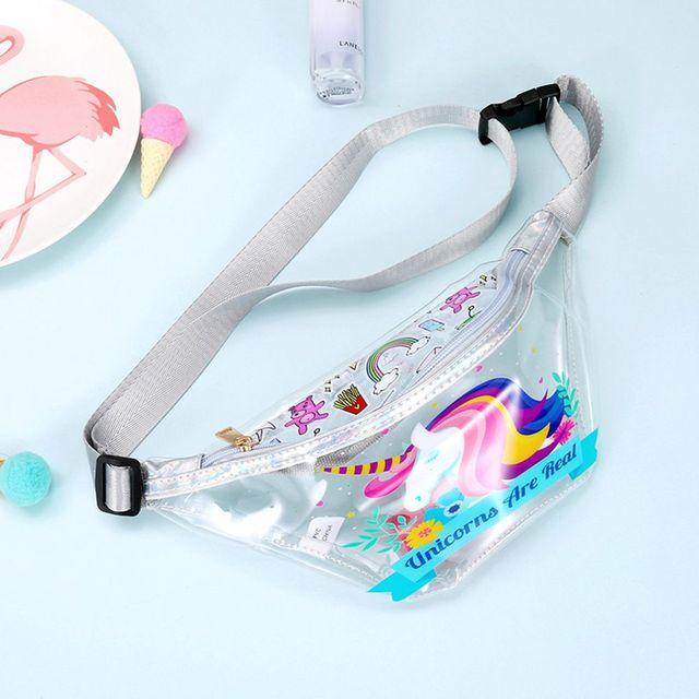 1PC New Popular Women Transparent PVC Belt Bag Unicorn Flamingo Printed Waist Packs Bag Travel Pouch Ladies Fashion Bags