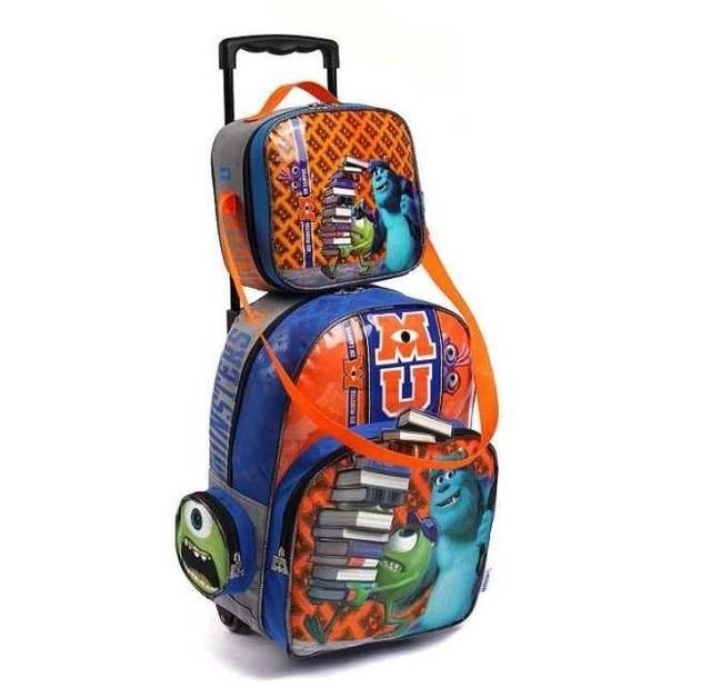 monster university 3D Trolley School Bags 2 in 1 set for Girls Boy Kids  Cartoon Wheeled Backpack Children Rolling Luggage 639e60cb6e