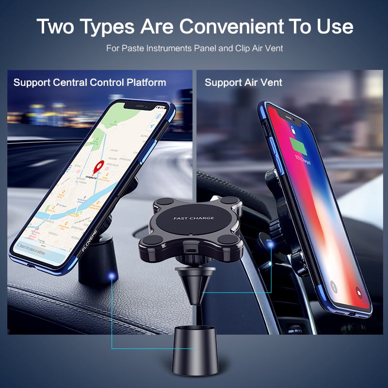 Image 3 - FLOVEME Car Mount Qi Wireless Charger For Samsung Galaxy S9 S10 S8 Note 9 Wireless Charging Car Phone Holder For iPhone XS MAX X-in Mobile Phone Chargers from Cellphones & Telecommunications