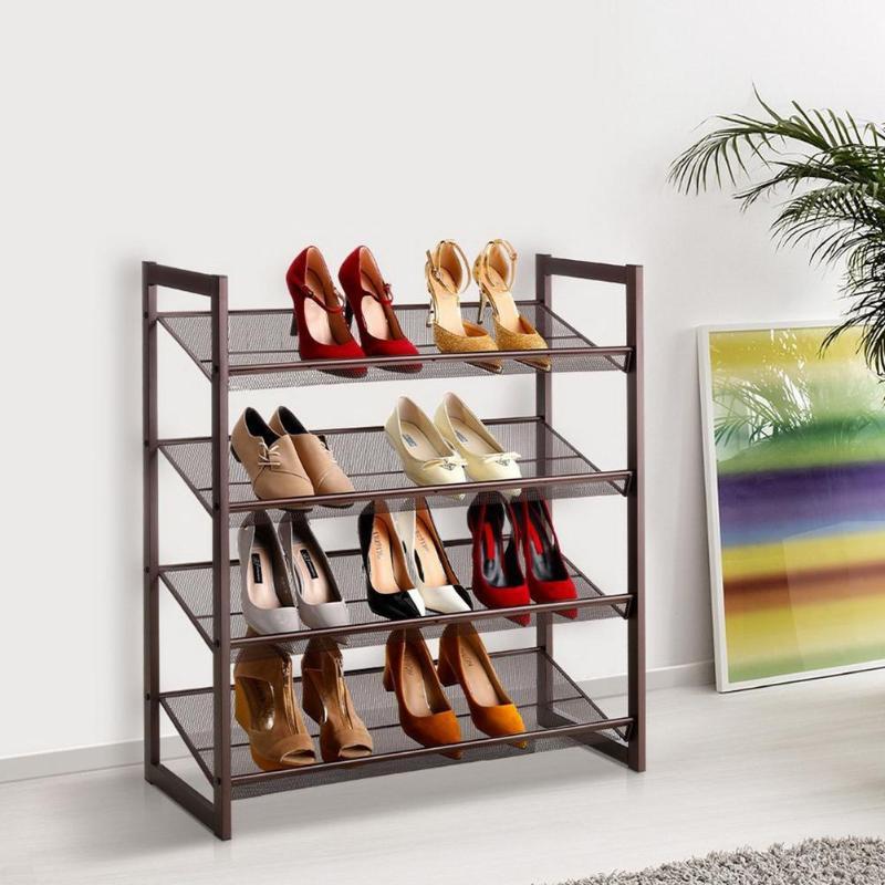 4-layer Shoe Rack Metal Iron Oblique Plane Shoe Rack Stands Home Shoes Storage Shelf Organizer