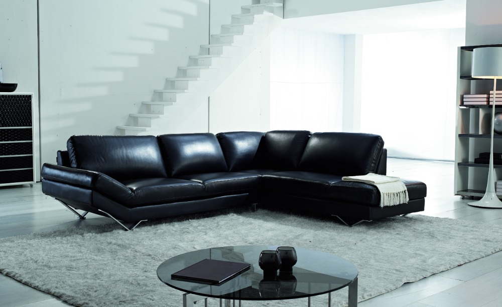 modern style sectional sofa top genuine leather sofa living room furniture
