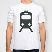 Men Summer Short Sleeves T Shirt Train Pattern Casual Plain White T Shirt Men Clothing