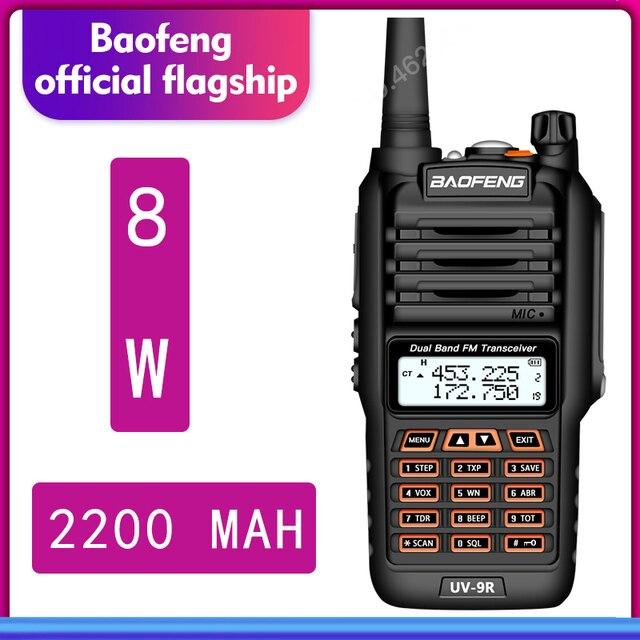 De BaoFeng UV 9R Plus resistente al agua de mano Walkie Talkie 8 vatios doble banda UHF, VHF IP67 transceptor HF UV 9R jamón portátil radio