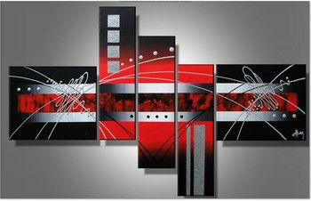 Handpainted Modern Canvas Wall Art black Red Clouds Silver Lines Abstract Oil Paintings on Canvas 5pcs/set cuadros decoracion