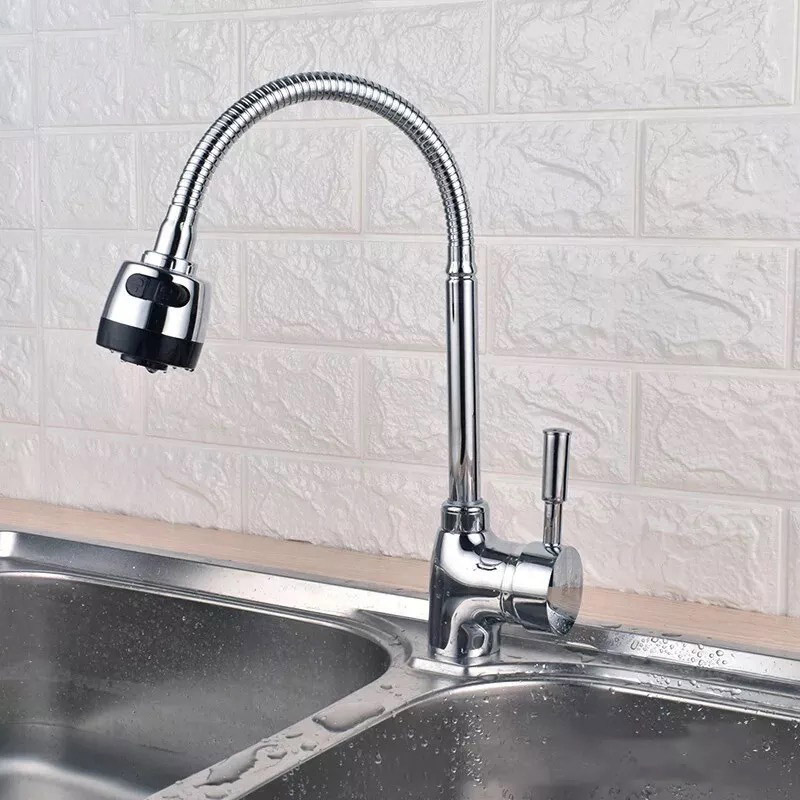 Kitchen Faucet Brass Deck Mounted Pull-out Swivel Spray Mixer Tap Free Deformation 360 Swivel Handheld Shower Kitchen