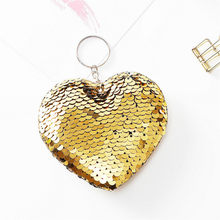 1pcs Golden Plush Keychain Cartoon Hot-selling Heart-shaped Key Chains, Double-sided Reflective Sequins Keychain(China)